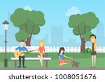 people in park. teens playing... | Shutterstock . vector #1008051676