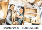 hipster couple with cute dog...   Shutterstock . vector #1008058336