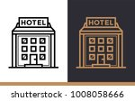 outline icon hotel building.... | Shutterstock .eps vector #1008058666