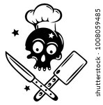 skull with cooking hat  knives... | Shutterstock .eps vector #1008059485
