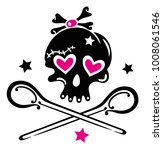 skull girlie with hearts ...   Shutterstock .eps vector #1008061546