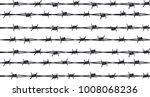 several rows of sharp rusty...   Shutterstock . vector #1008068236