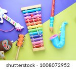 Toy musical instruments on...
