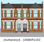 typical uk terraced london... | Shutterstock .eps vector #1008091102