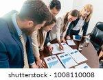 multi ethnic team of five... | Shutterstock . vector #1008110008