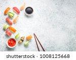 assorted sushi set on white... | Shutterstock . vector #1008125668