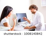 a patient discussing her... | Shutterstock . vector #1008140842