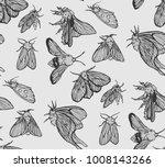 white and black moth seamless...   Shutterstock .eps vector #1008143266