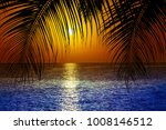 palm trees silhouette on sunset ... | Shutterstock . vector #1008146512