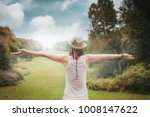 happy beautiful woman with...   Shutterstock . vector #1008147622