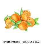 mountain of oranges. watercolor | Shutterstock . vector #1008151162