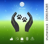 shelter pets sign icon. hands... | Shutterstock .eps vector #1008154285