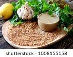 homemade tahini paste...   Shutterstock . vector #1008155158
