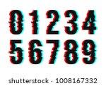 black glitch numbers. vector | Shutterstock .eps vector #1008167332