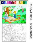 picnic in nature coloring book... | Shutterstock . vector #1008190312