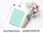 home office desk table with... | Shutterstock . vector #1008190378