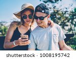 positive hipster couple using... | Shutterstock . vector #1008195742