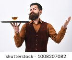 barman with strict face serves... | Shutterstock . vector #1008207082
