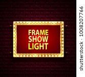 golden frame with light bulbs...   Shutterstock .eps vector #1008207766
