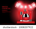 red cosmetic set on stand with... | Shutterstock .eps vector #1008207922