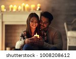 happy young couple with burning ... | Shutterstock . vector #1008208612