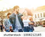 group of friends laughing and... | Shutterstock . vector #1008212185