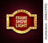 red frame with light bulbs on...   Shutterstock .eps vector #1008219592