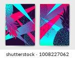 vector pineapple mock up set....   Shutterstock .eps vector #1008227062
