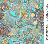 seamless ethnic abstract floral ... | Shutterstock . vector #1008227182