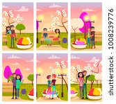 six cards of loving couples at... | Shutterstock .eps vector #1008239776