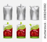 Tomato ketchup pack mockup design, vector realistic illustration. White blank and color doypack template set. Doy-pack plastic bags isolated on white background. | Shutterstock vector #1008240382