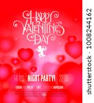 valentines day party flyer with ... | Shutterstock .eps vector #1008244162