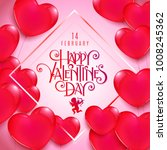 valentines day party flyer with ... | Shutterstock .eps vector #1008245362