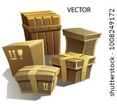 vector set of boxes for packing ... | Shutterstock .eps vector #1008249172