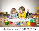 preschool boy and girl play on... | Shutterstock . vector #1008253105
