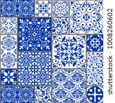 seamless patchwork tile with... | Shutterstock .eps vector #1008260602