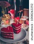 red velvet cake for valentine s ...   Shutterstock . vector #1008262252