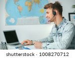 young male travel agent... | Shutterstock . vector #1008270712