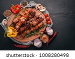 shish kebab on skewers with... | Shutterstock . vector #1008280498