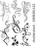 set of black floral elements... | Shutterstock .eps vector #1008281122