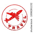 travel red rubber stamp with... | Shutterstock .eps vector #1008281152