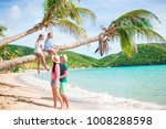 young family on vacation have a ... | Shutterstock . vector #1008288598