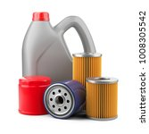 plastic canister with motor oil ... | Shutterstock . vector #1008305542