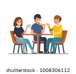 friends sit in cafe  drink... | Shutterstock .eps vector #1008306112