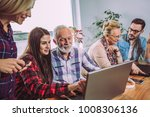 young volunteers help senior... | Shutterstock . vector #1008306136