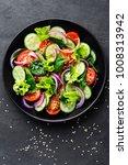 healthy vegetable salad of... | Shutterstock . vector #1008313942