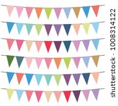 colorful flags and bunting... | Shutterstock .eps vector #1008314122