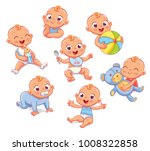 happy smiling newborn boy in... | Shutterstock .eps vector #1008322858