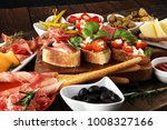 italian antipasti wine snacks... | Shutterstock . vector #1008327166