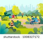 people in the park. public park ... | Shutterstock .eps vector #1008327172